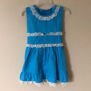 Girls Dress size 2T blue and white lace trim NWOT